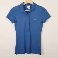 [ LACOSTE ] Womens Blue Short Sleeve Polo Top  | Size 34 or AU 6 / US 2