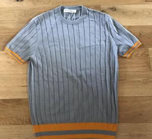 Orlebar Brown Rib Knit Top Silk Blend T Shirt Grey Size Large New Rrp £245