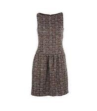 $5010! 12 A NEW CHANEL Burgundy Beige Fantasy Tweed Shimmer SUIT DRESS 42  Rare!