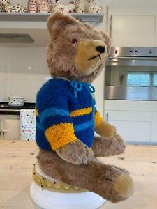 Antique vintage bear.19 inch German Hermann mohair toy teddy bear,1940/50s
