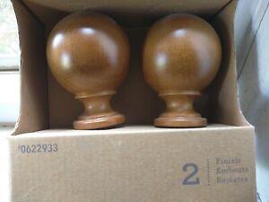 "Allen+Roth Wood TOBACCO Color FINIALS --set of 2-- fits 1 3/8"" rods"