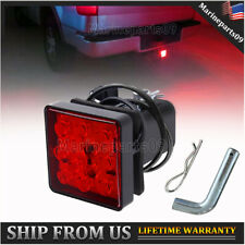 "2"" Truck Trailer Hitch Receiver Cover with Pin Red Brake LED Light Tube Cover"