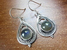 Labradorite Earrings 925 Sterling Dangle Drop in Hoop with Silver Dot Accents