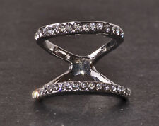 UNIQUE SPARKLING SILVER TONE DOUBLE SHAPELY RING SMALL RHINESTONES (CL24)