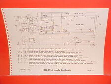 1967 1968 LINCOLN CONTINENTAL CONVERTIBLE SEDAN COUPE FRAME DIMENSION CHART