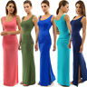 Womens Long Maxi Dress Ladies Jersey Bodycon Sleeveless Vest Casual Summer Dress
