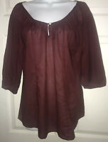 Lucky Brand Burgundy Red Cotton Peasant Blouse Boho Top 3/4 Sleeve Sz MEDIUM EUC
