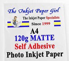 A4 120 G Opaco Autoadesivo Carta fotografica a getto d'inchiostro - 1 Etichetta per Foglio - 25 FOGLI
