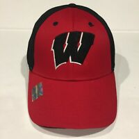 WISCONSIN BADGERS NCAA Black Red Structured Hat Cap Licensed Official OSFA NEW!