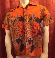 M Vintage 50s Loop Collar HAWAIIAN SHIRT McInerny Sydney ORANGE Covered Buttons