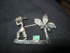 - man with bananas Rare Vintage Silver brooch