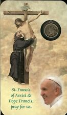 Prayer Card St.Francis of Assisi & Pope Francis of Rome Laminated Card & Medal