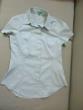 Women's Size M United Colors of Benetton Light Blue Short Sleeve Shirt Blouse