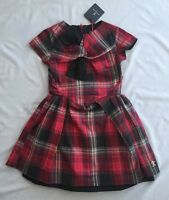 NWT JESSIE AND JAMES DELOREAN RED CHECK GIRLS DRESS SZ 10 - 11 yrs RED BLACK