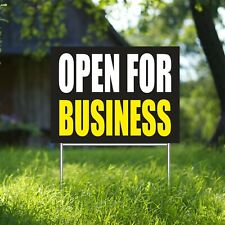 Open For Business Yard Sign Corrugate Plastic with H-Stakes Restaurant Cafe