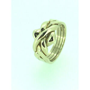 Puzzle Ring By Herron 9ct Gold Four Piece Yellow Gold Puzzle Ring Size (I-Q)