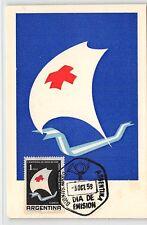 Argentina MK 1959 CROCE ROSSA RED CROSS CROIX atte ad assicurar carte MAXIMUM CARD MC d9582