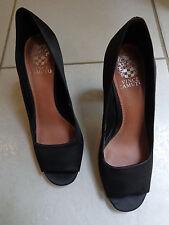 Vince Camuto Women's Black Open Toe Pump Heels Size 8 B Cut Out Leather Sole
