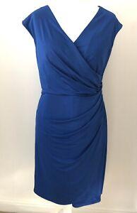 Gina Bacconi Royal Blue Stretch Mock Wrap Pencil Dress Size 18 Sleeveless