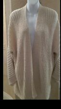 EILEEN FISHER Woven Straight Cardigan Jacket Ivory Cream Taupe NWT Sz LG $298