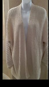 EILEEN FISHER Woven Straight Cardigan Jacket Ivory Cream Taupe NWT Sz XL $298