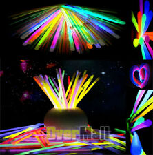 "300 8""Glow Sticks Bracelets Necklaces Neon Colors & 300 Bracelets Connectors USA"