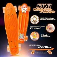 "orange 22"" Skateboard Mini Cruiser Plastic Deck Penny Style Board for kid adults"