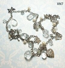 GORGEOUS WHITE METAL CHAIN WITH FACETED CLEAR BEADS FAUX PEARLS & CHARMS