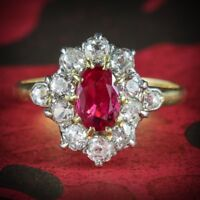 ANTIQUE VICTORIAN RUBY DIAMOND CLUSTER RING PLATINUM 18CT GOLD CIRCA 1900
