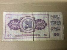JUGOSLAVIA 20 DINAR nota