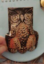 VINTAGE HALLOWEEN OWL NOISE MAKER CLACKER U.S. TOY METAL GREAT SHAPE