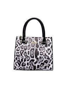 Serenade Snow Panthera Grip Handle Leather Bag  Leopard