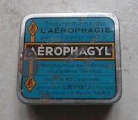 Ancienne boite Métal Aérphagyl traitement aérophagie Paris France Pharmacie