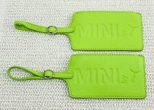 Mini Cooper Lifestyle By Puma Green Leather Luggage Tags x 2