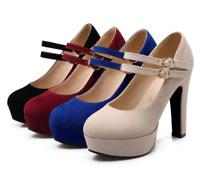 Women Ankle Strap High Heels Block Platform Party Evening Cocktail Pumps Shoes