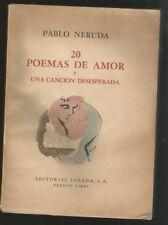 Pablo Neruda Book 20 Poemas De Amor 1°Ed 1953 Losada
