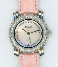 JALGA QUARTZ JAPAN MOVT CLEAR CRYSTALS MOTHER OF PEARL FACE PINK BAND WATCH 0834