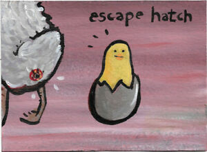 N. Scott Carroll escape hatch egg chick chicken folk pop lowbrow art painting