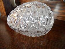 VINTAGE CRYSTAL GLASS EGG SHAPE LIDDED JEWELLERY BOX DRESSING TABLE DISPLAY