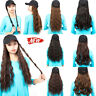 Fashion Wavy Curly Long Wig Synthetic Hair with Hat Black Baseball Cap for Women