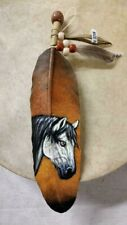 HAND PAINTED FEATHER  , ARTS & CRAFTS ,SOUTHWEST  , SANTA FE  , NEW  HORSE 1