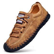 Mens Leather Casual Shoes Breathable Non-slip Loafers Slip on Moccasins Fashion