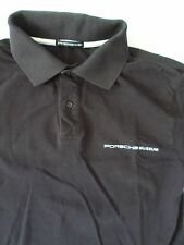 PORSCHE MUSEUM authentic black cotton pique logo polo shirt SMALL