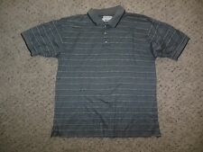 Men's WRANGLER RIATA Shirt Polo Golf Size Small Gray White Stripes Short Sleeve