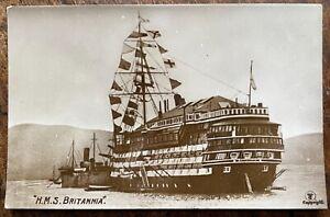 ANTIQUE RPPC VIEW OF H.M.S BRITANNIA ROYAL NAVY TRAINING SHIP DARTMOUTH DEVON