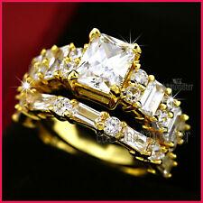 9K GOLD GF EMERALD CUT 3CT SQUARE LAB DIAMOND SOLID ENGAGEMENT WEDDING RINGS SET