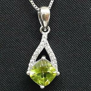 World Class 1.65ctw Peridot & Diamond Cut White Sapphire 925 Silver Pendant