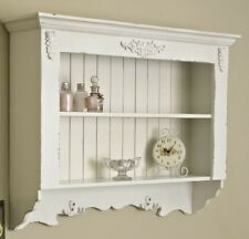 Ornate white painted wall shelf unit shabby vintage chic home kitchen bathroom