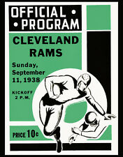 CLEVELAND RAM Art Print of 1938 Game Program, 8x10 Color Photo