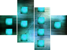 Large Abstract Canvas Picture Teal Blue Squares Wall Art Split Multi 4 Panel Set
